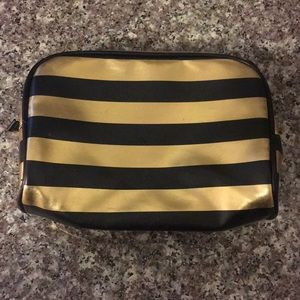 Gold & Black Striped Makeup Bag
